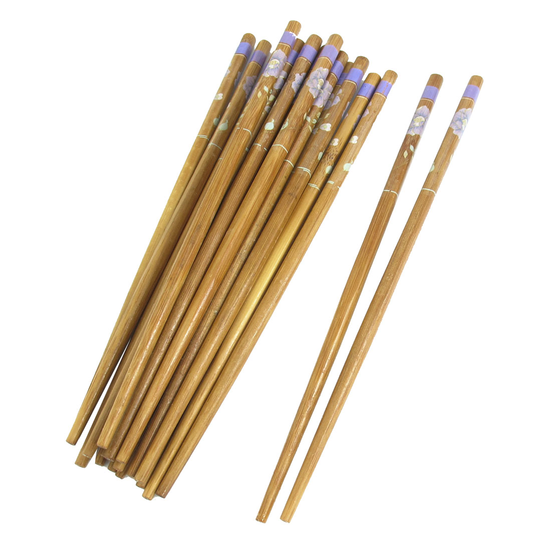 "10 Pairs 9.4"" Length Bamboo Floral Pattern Kitchen Wooden Chopsticks"