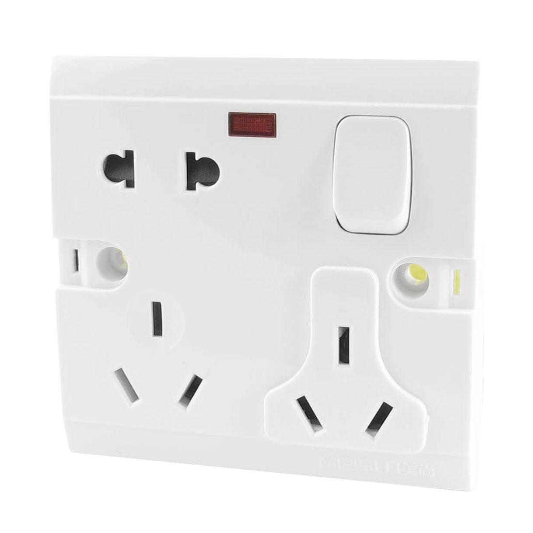 AC 250V 10A AU EU US Plug Socket Red Indicator Single Gang Wall Panel Switch