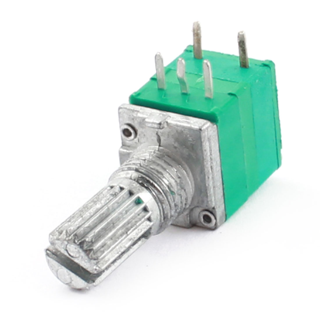 B50K 50K Ohm 7mm Thread 6mm Dia Knurled Shaft 5 Pin Green Adjustable Rotary Taper Potentiometer Switch