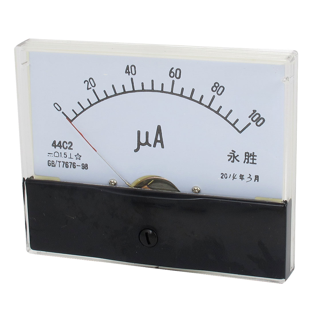 44C2 DC 0-100uA Class 1.5 Accuracy Clear Rectangle Panel Mounted Analog Ammeter Ampere Meter