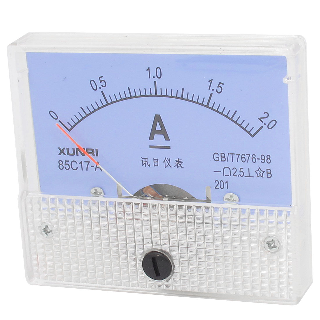 85C17-A DC 0-2Amp Class 2.5 Accuracy Clear Rectangle Panel Mounted Analog Ammeter Ampere Meter