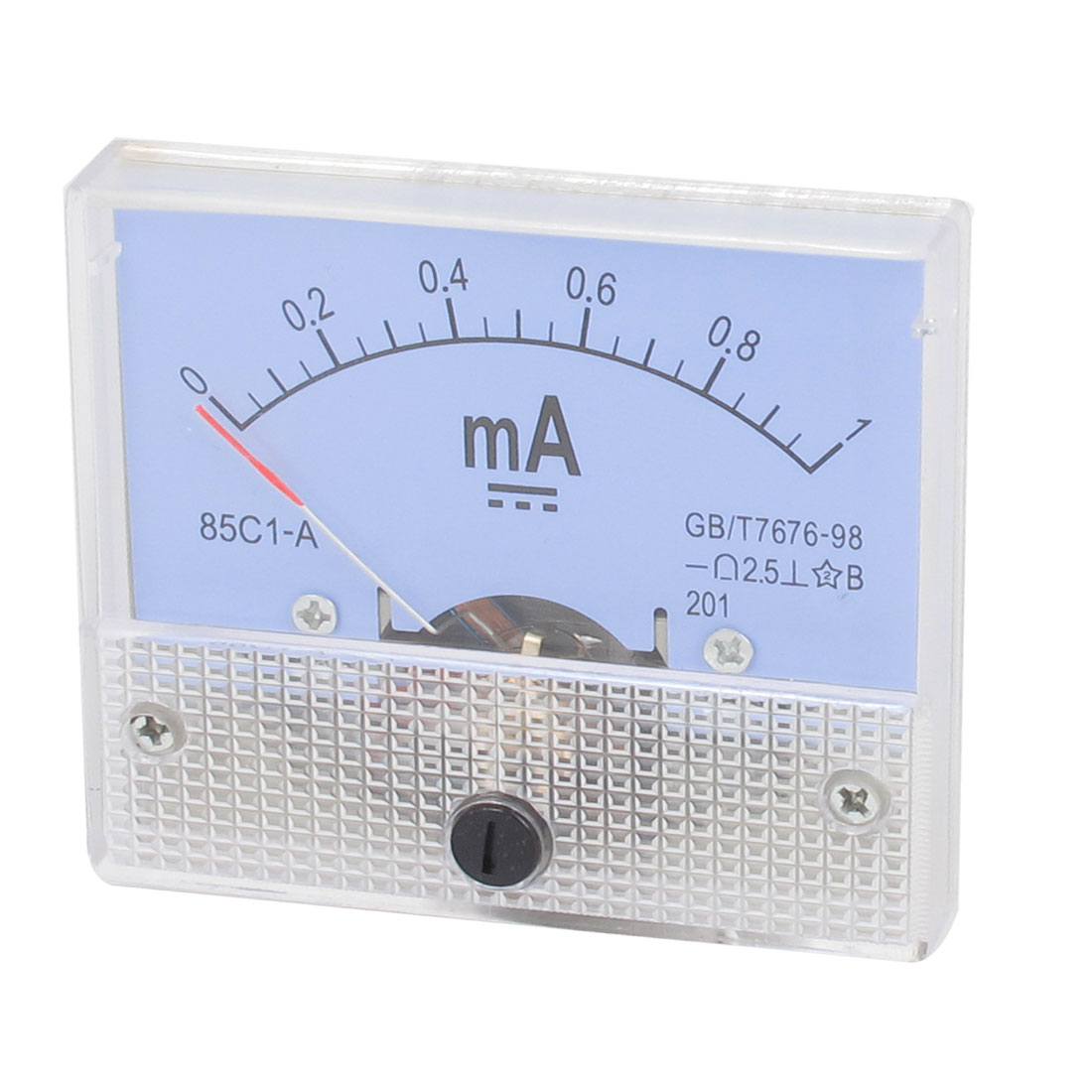 85C1-A DC 0-1mA Class 2.5 Accuracy Clear Rectangle Panel Mounted Analog Ammeter Ampere Meter