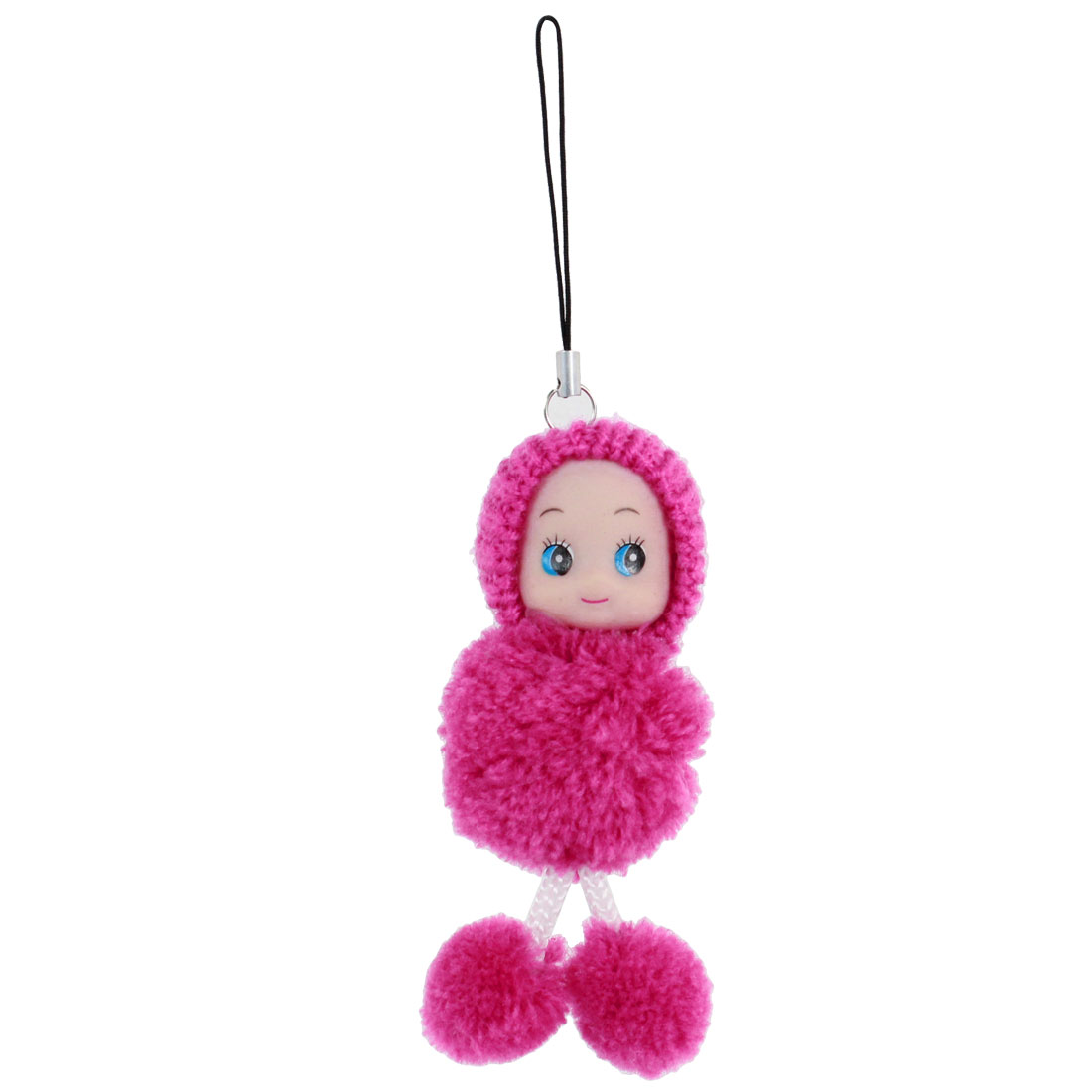 Fuchsia Knitted Doll Decoration Dangling Strap String Pendant Mp3 Mp4 Mobile Phone Charm Strap Handbag Hanging Ornament