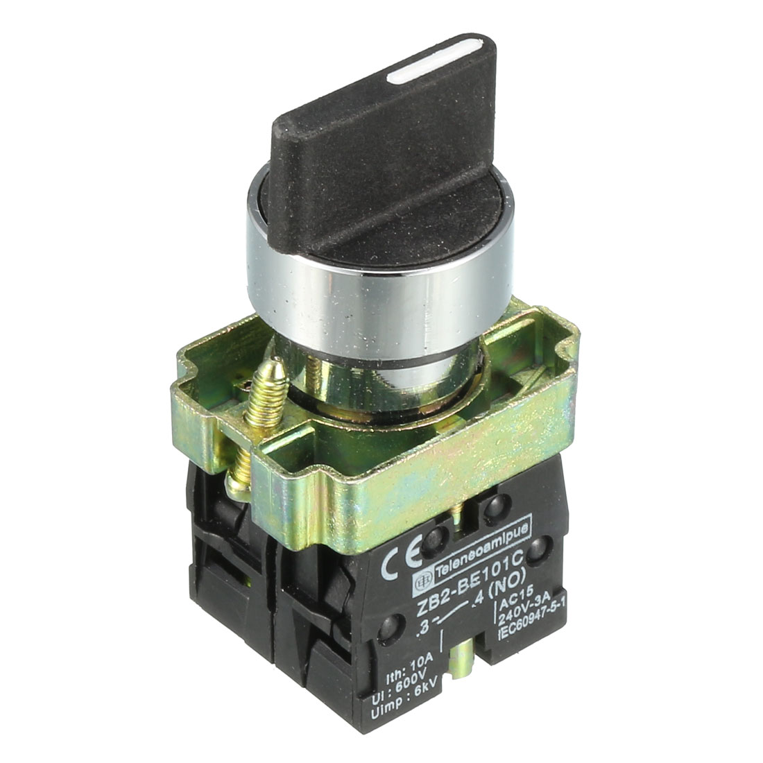 AC 600V 10A 3 Selector Position Locking Action 2 Normal Open DPST Rotary Switch Black