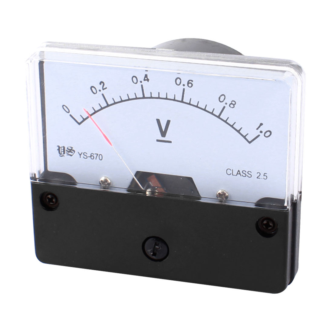 DC 0-1V Rectangle Clear Plastic Panel Mount Gauge Voltmeter Voltage Meter for Lab
