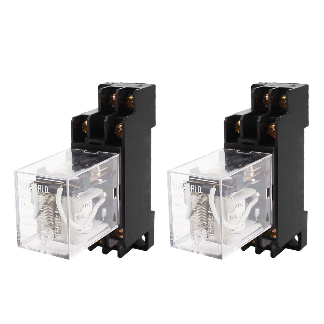 2pcs JQX-13F DC 12V Coil Voltage DPDT 8 Terminals 35mm DIN Rail Power Electromagnetic Relay w Socket