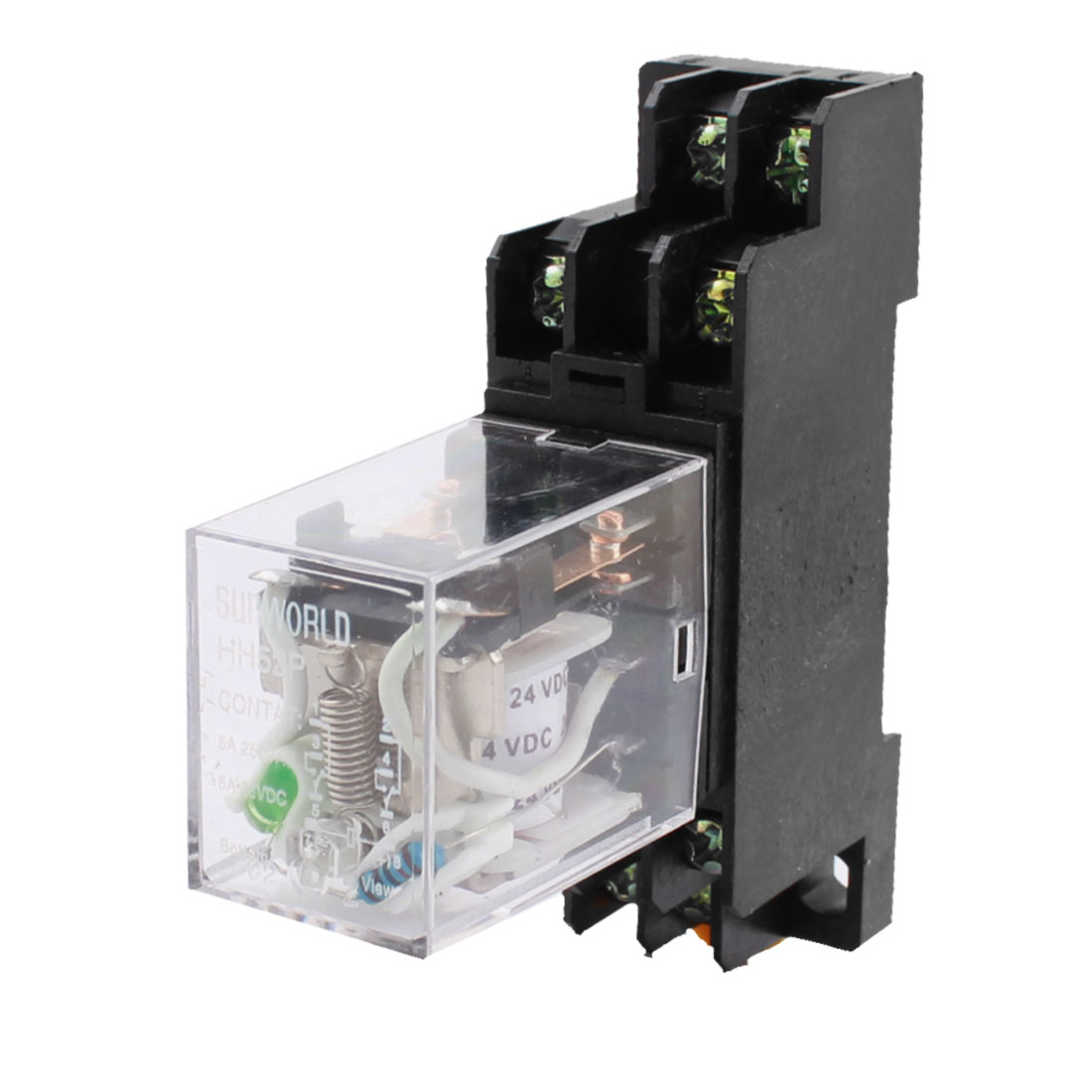HH52P DC 24V Coil Voltage 8 Terminals DPDT Green LED Pilot Lamp 35mm DIN Rail Mount Power Electromagnetic Relay w Socket