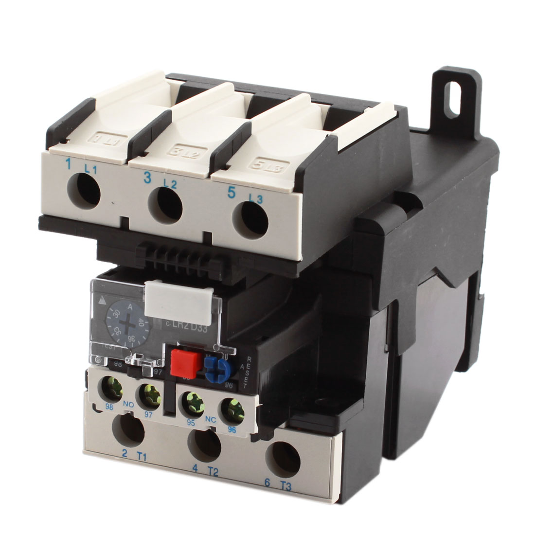 JR28-33 1NO 1NC 3 Phases 30-40A 35mm DIN Rail + 2 Mounting Holes Adjustable Motor Protector Electric Thermal Overload Relay
