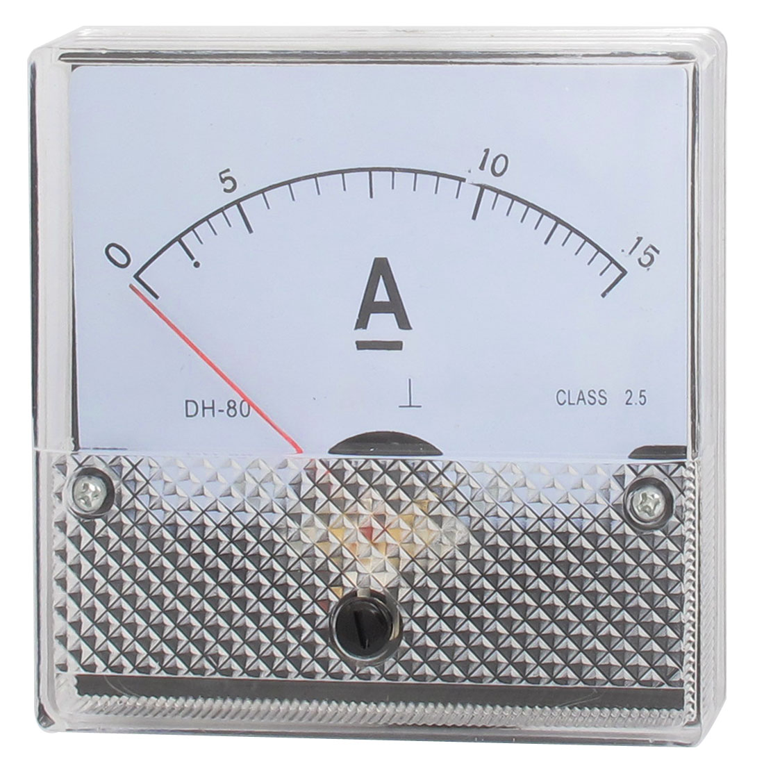DH-80 DC 0 to 15Amp Class 2.5 Accuracy Clear Square Panel Mounted Analog Ammeter Ampere Meter
