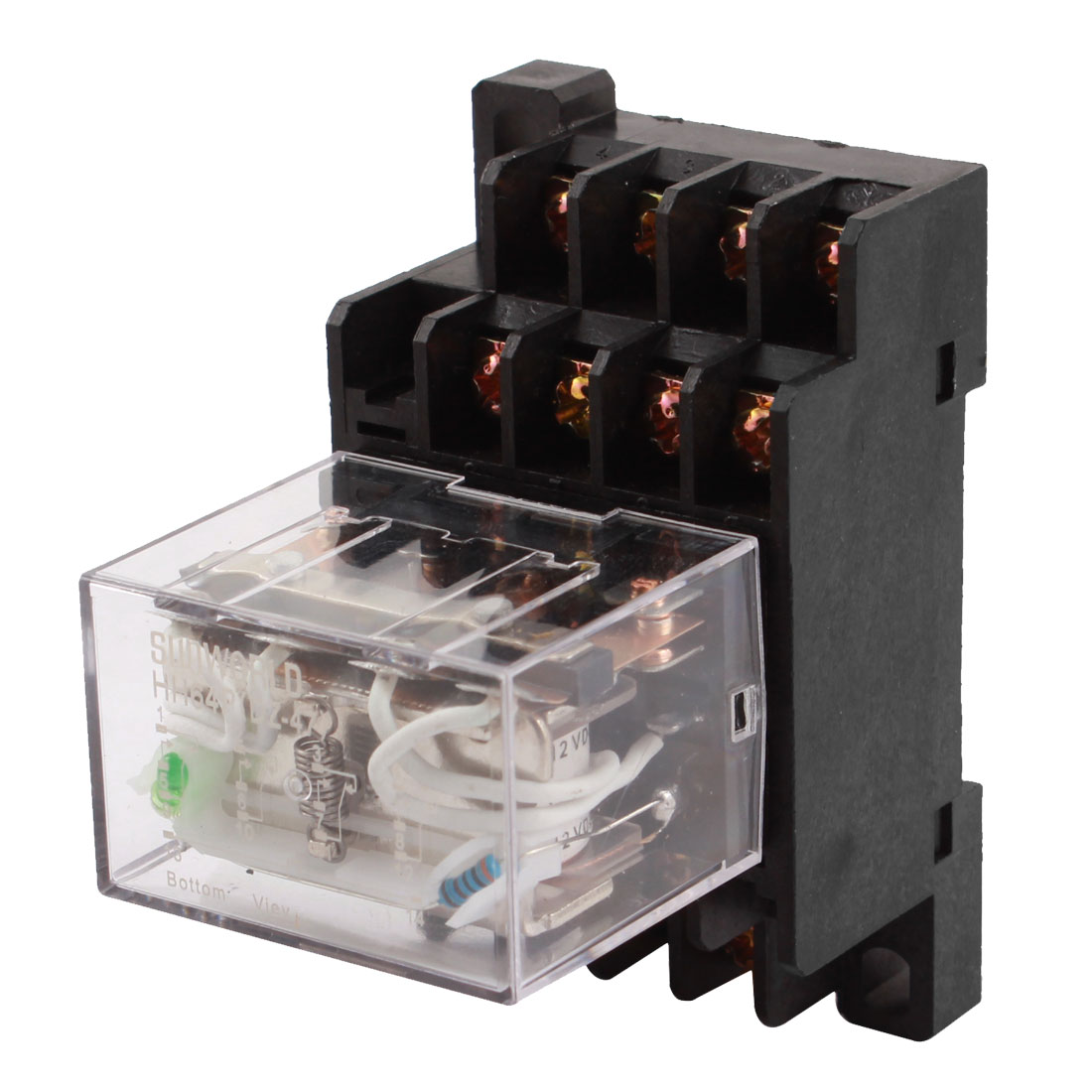 HH64P DC 12V Coil Voltage 14 Terminals 3PDT Green LED Pilot Lamp 35mm DIN Rail Mount Power Electromagnetic Relay w Socket