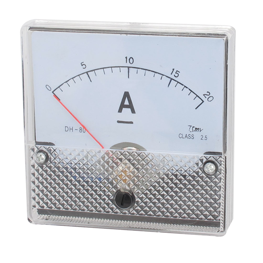 DH-80 DC0-20A Class 2.5 Accuracy Clear Square Panel Mounted Analog Ammeter Ampere Meter