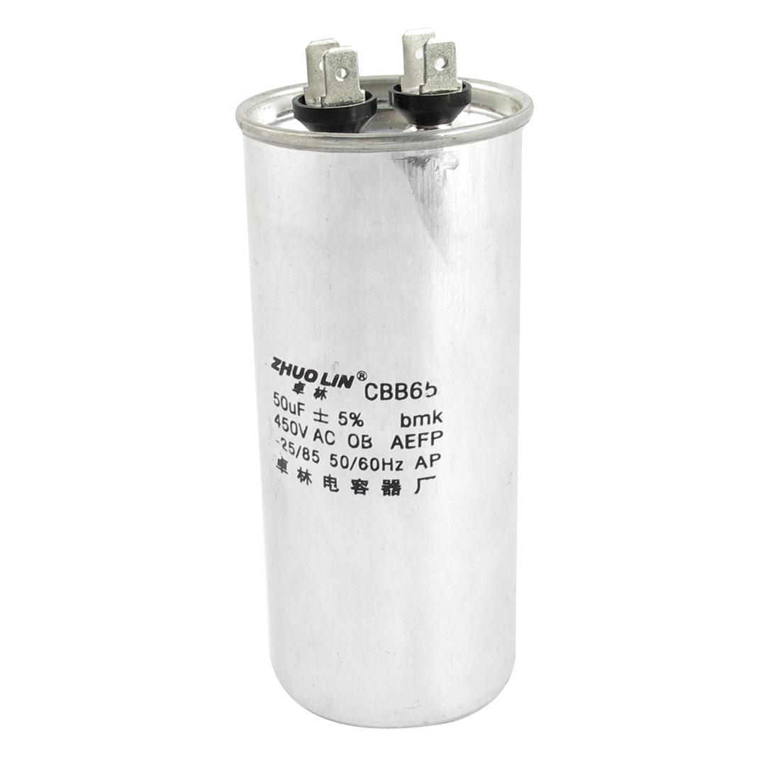 CBB65 AC 450V 50uF Capacitance 5% Tolerance Non Polar Polypropylene Film Motor Running Capacitor for Air Conditioner