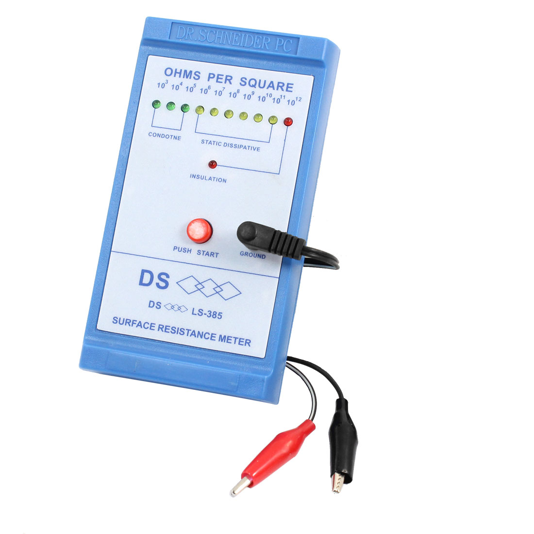 Portable Surface Resistance Meter Insulation Tester Resistivity Indicator w Leads