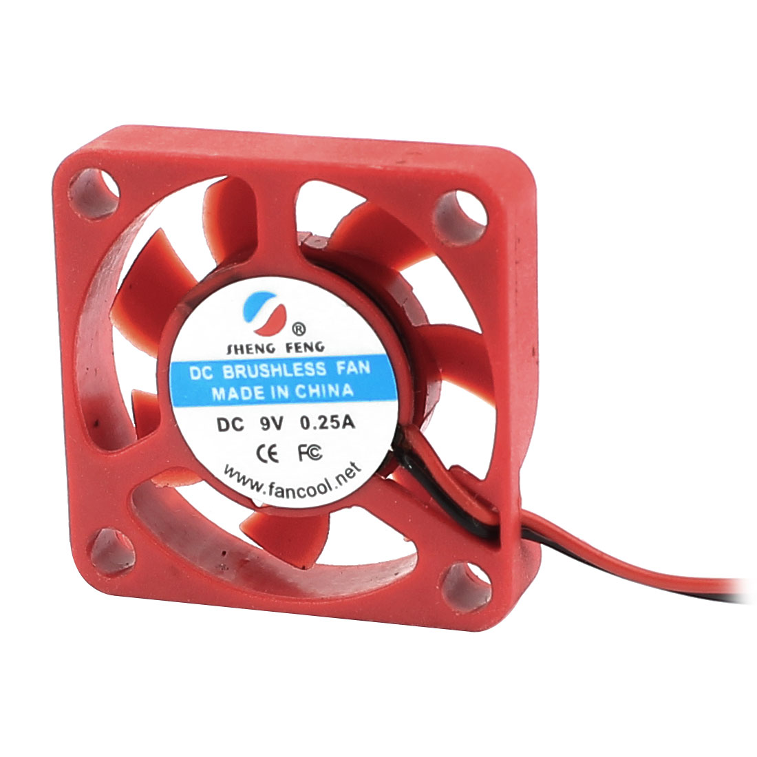 DC 9V 0.25A Red Plastic 7 Flabellums 2 Terminals Connector 3cm CPU Cooling Fan Cooler
