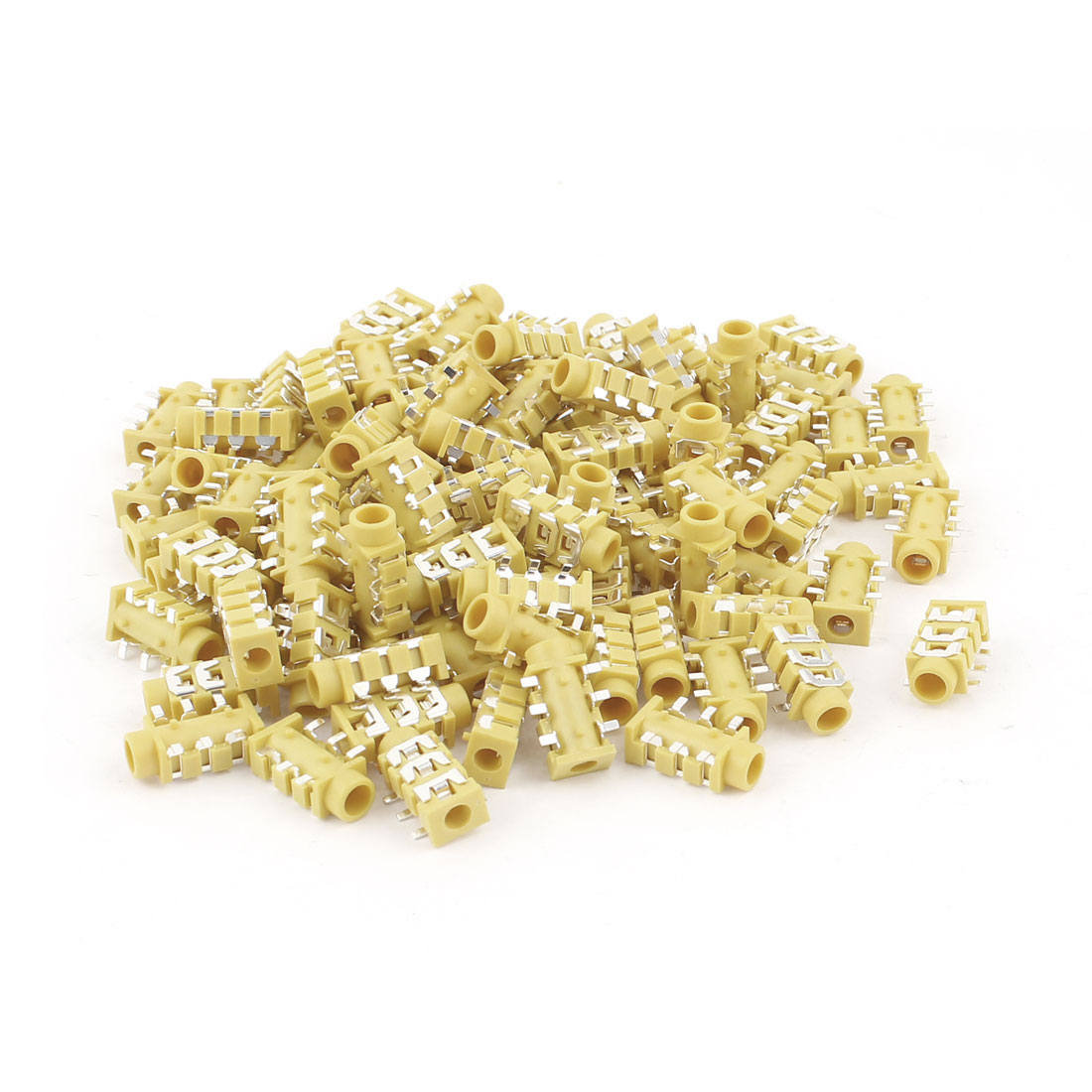 100 Pcs Yellow Plastic Audio Headset 6 Pin PCB 3.5mm Female Jack Sockets