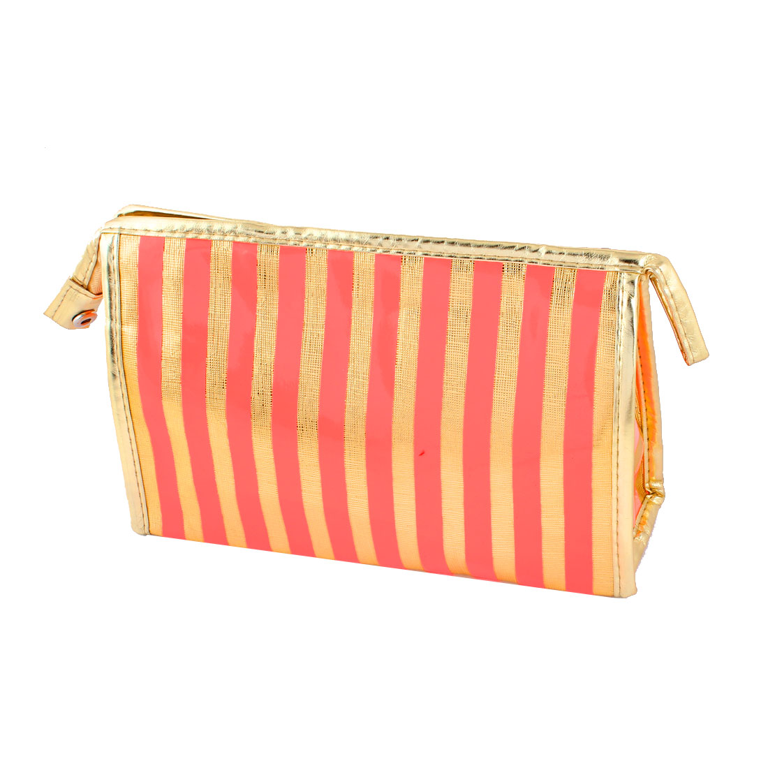 Lady Rectangle Faux Leather Waterproof Red Striped Zipper Cosmetic Bag