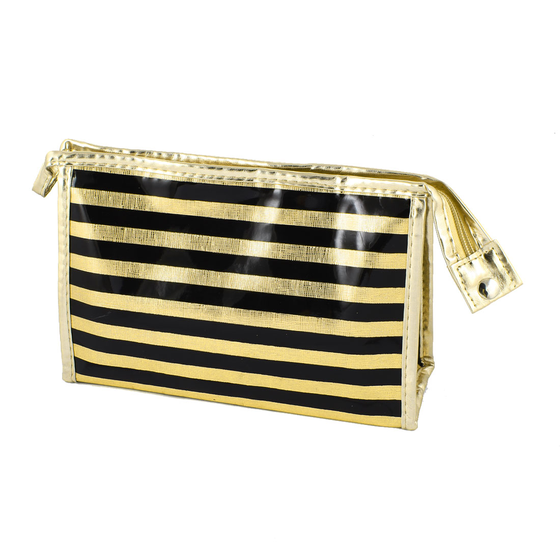 Ladies Rectangle Nylon Lining Faux Leather Stripes Pattern Zipper Makeup Bag