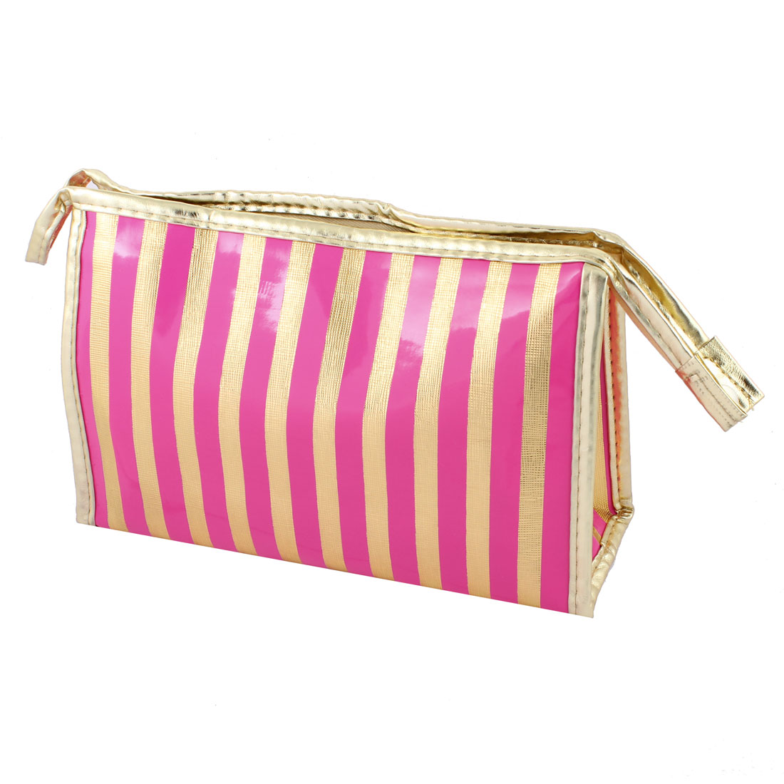 Women Fuchsia Gold Tone Faux Leather Waterproof Striped Makeup Bag w Mirror