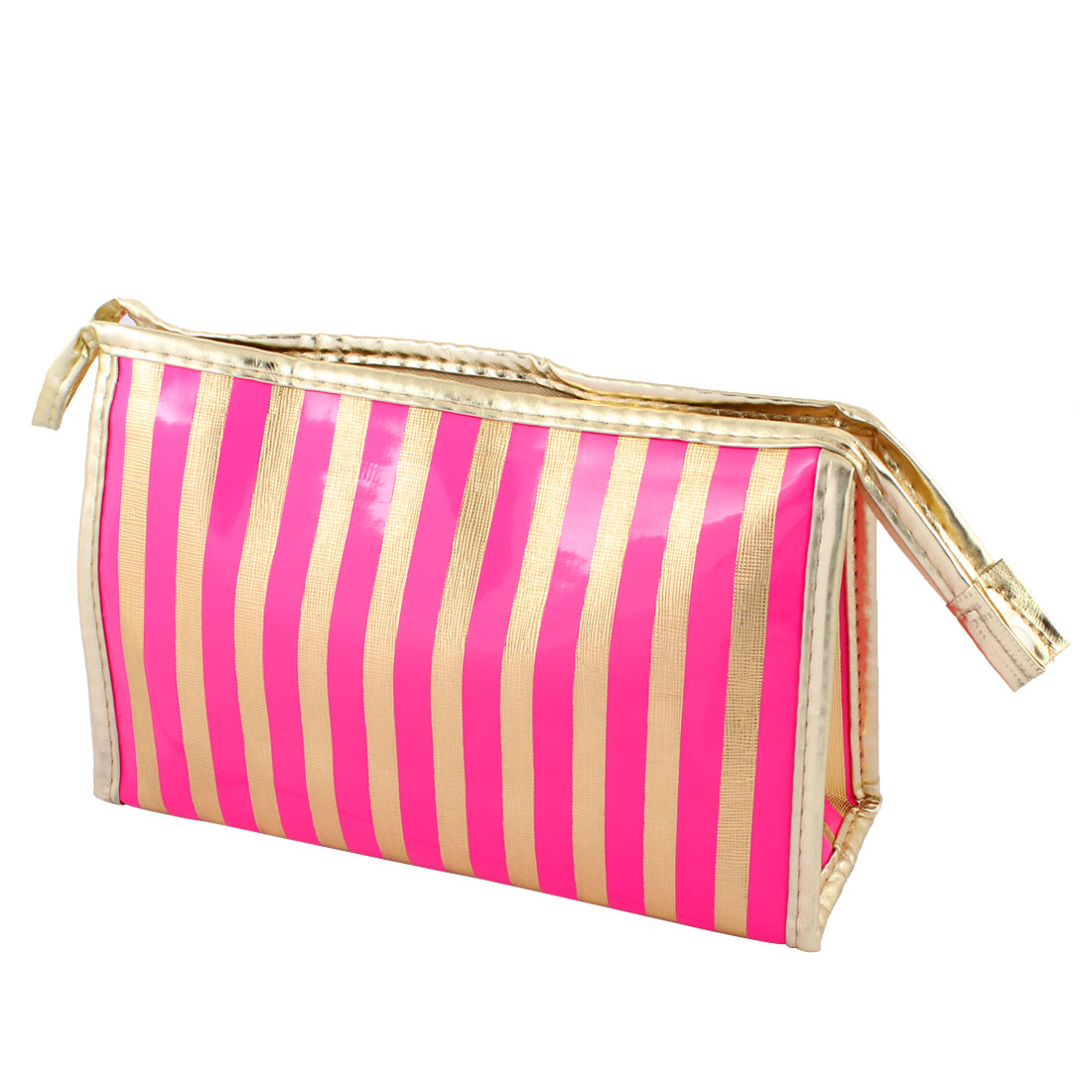 Ladies Faux Leather Waterproof Striped Makeup Bag Toiletry Holder Hot Pink