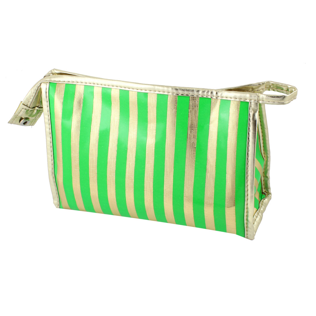 Women Nylon Lining Stripes Pattern Waterproof Cosmetic Bag Green Gold Tone