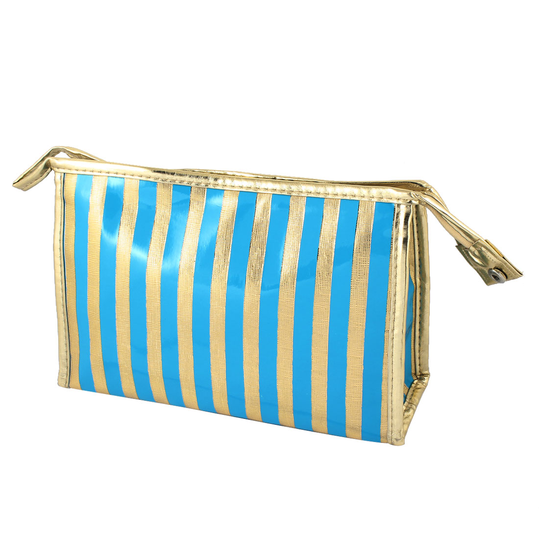 Women Nylon Lining Faux Leather Stripes Pattern Waterproof Zipper Cosmetic Bag