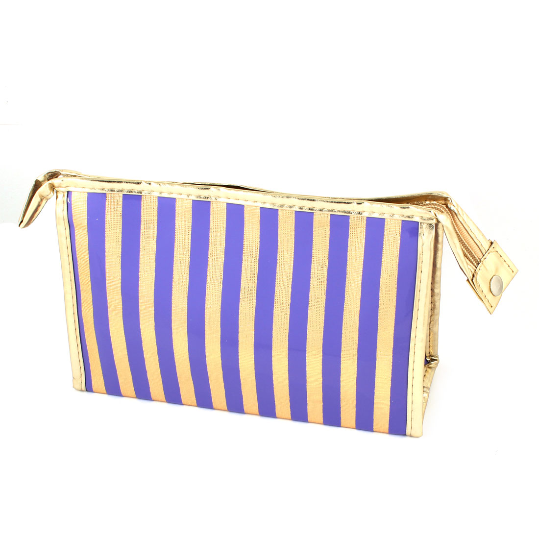 Lady Portable Gold Tone Purple Stripes Print Waterproof Makeup Bag w Mirror