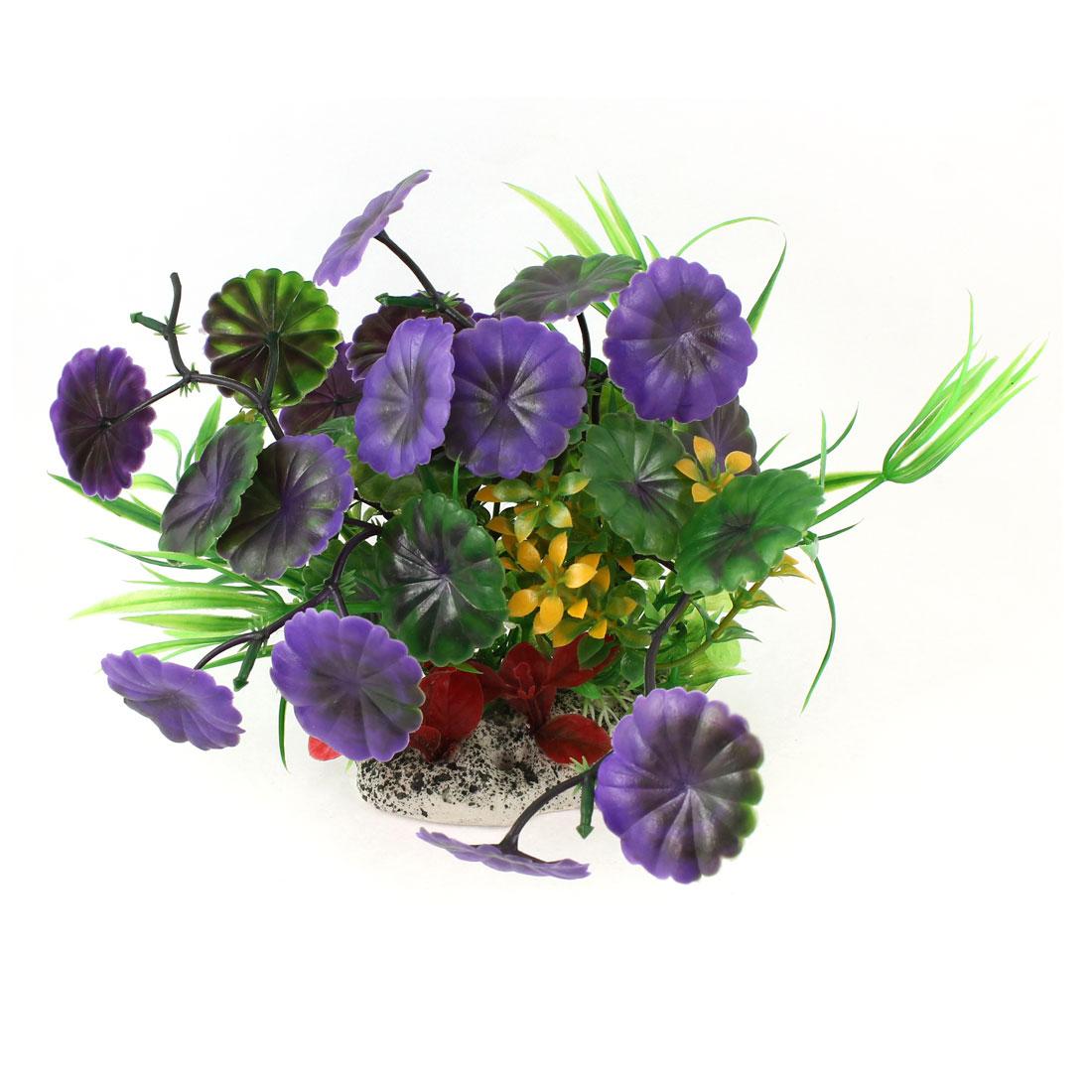 "Aquarium Landscaping Purple Green Manmade Floral Aquatic Plant 5.1"" Height"