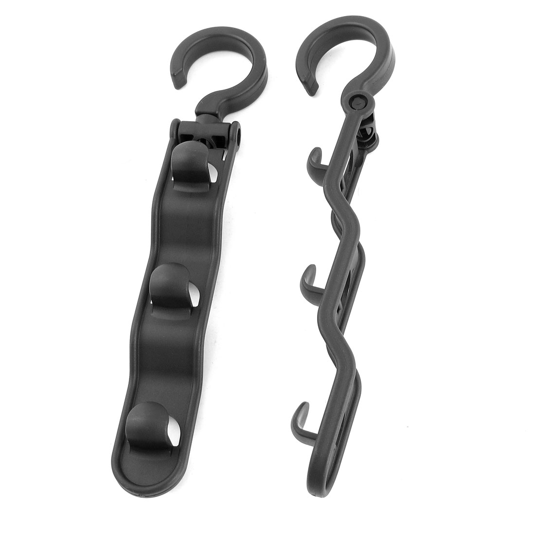 Garment Shop Black Plastic 3 Hooks Swivel Clothes Robe Towel Hat Bag Scarf Hook Hanger Organizer 2 Pcs