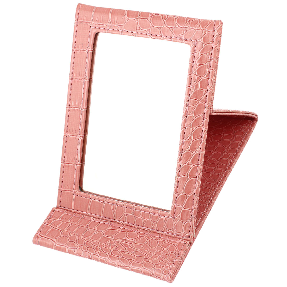 Rosybrown Alligator Print Faux Leather Coated Foldable Stand Makeup Mirror
