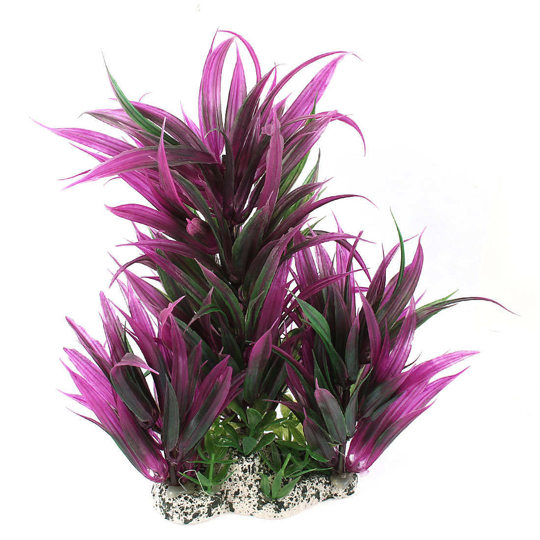 "Fish Tank Decor Artificial Plastic Aquatic Plant Grass Purple Green 10"" Height"