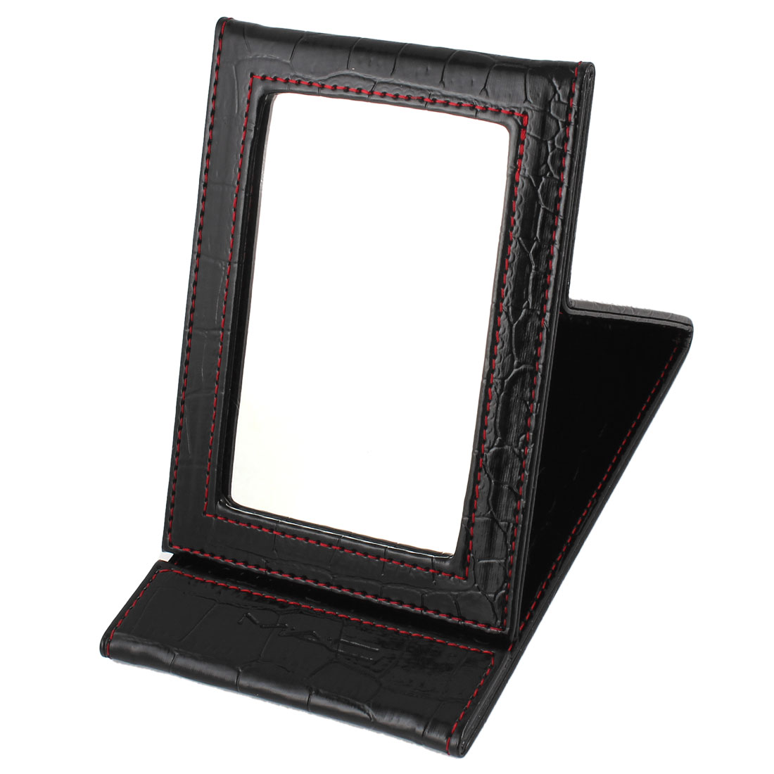 Portable Faux Leather Alligator Pattern Folding Cosmetic Stand Mirror Black