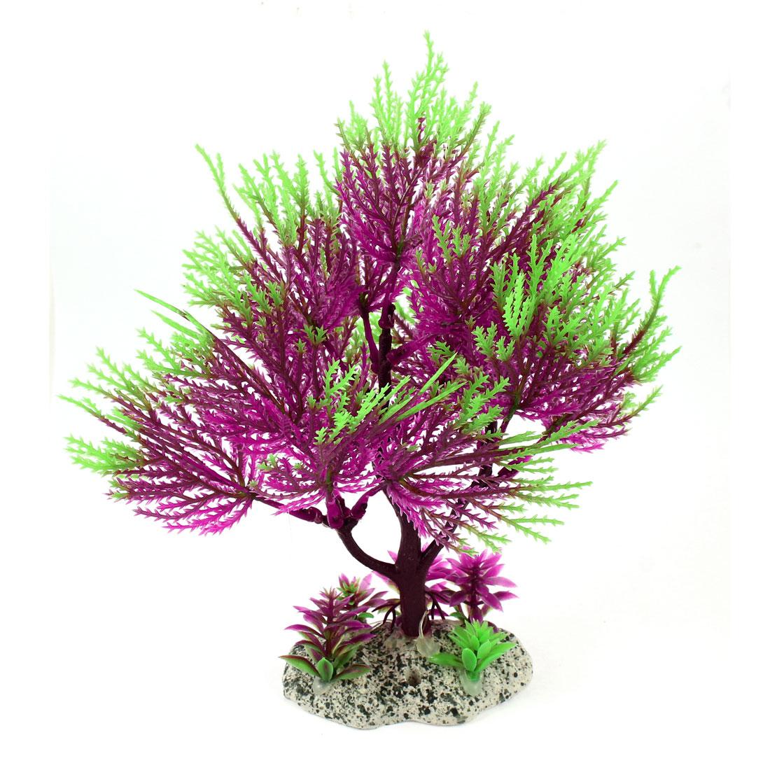 "Aquarium Landscaping Green Purple Plastic Simulation Water Plant Grass 8.3"" High"