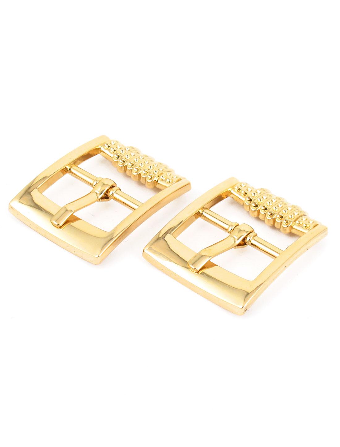 2 Pcs Gold Tone Metal Rectangular Belt Single Pin Buckle