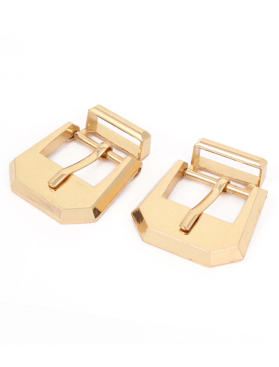 2 Pcs Gold Tone Metal Single Pin Buckle for Belt