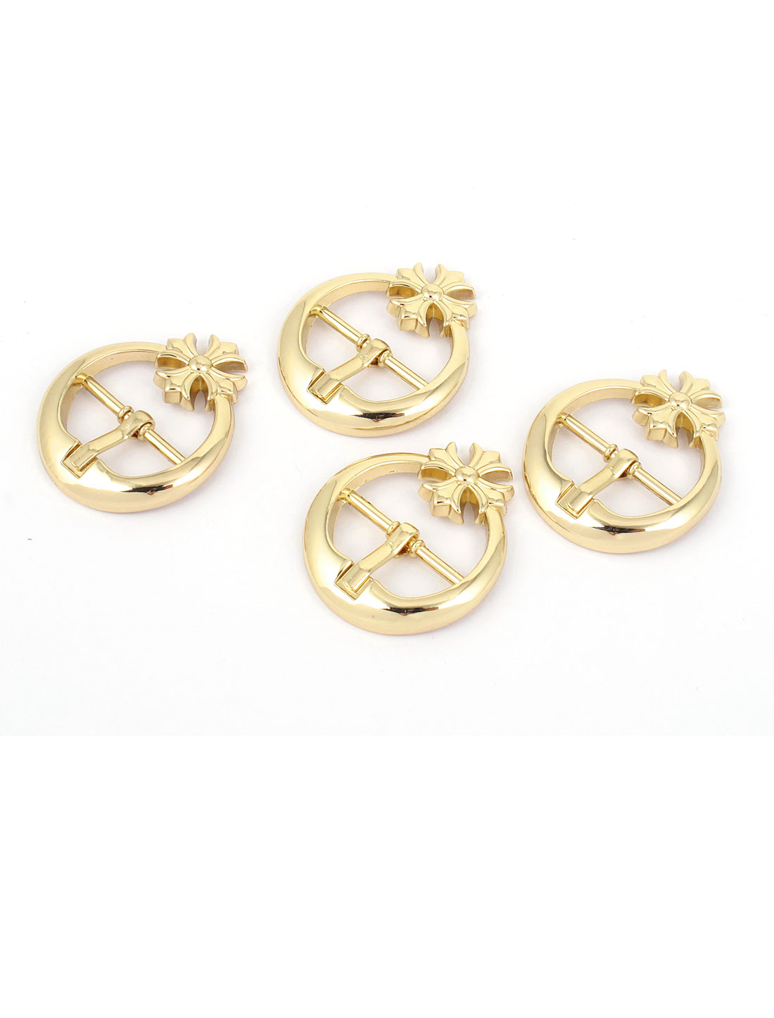 4 Pcs Flower Detail Gold Tone Metal Round Shape Belt Single Pin Buckles