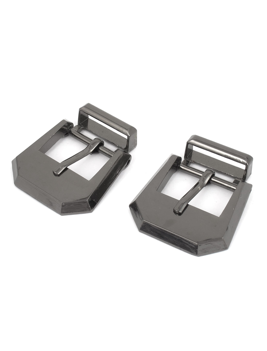 2 Pcs Unisex Stainless Steel Single Pin Style Waistband Buckle Silver Tone