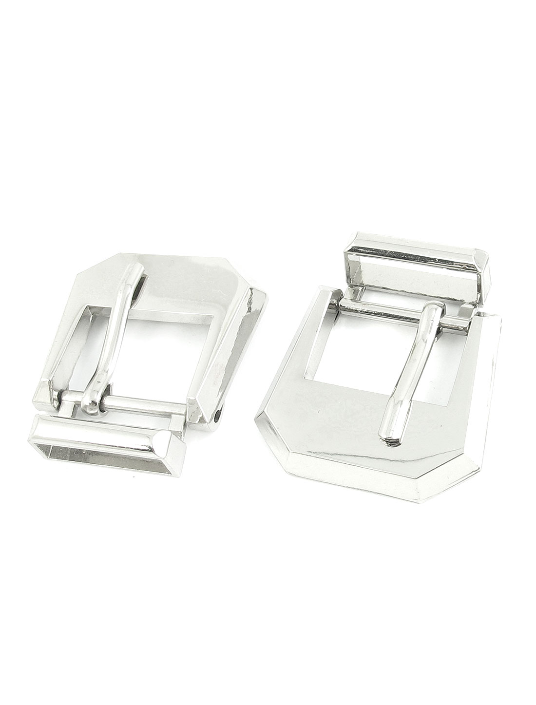 2 Pcs Silver Tone Rectangle Shape Metal Belt Single Pin Buckle