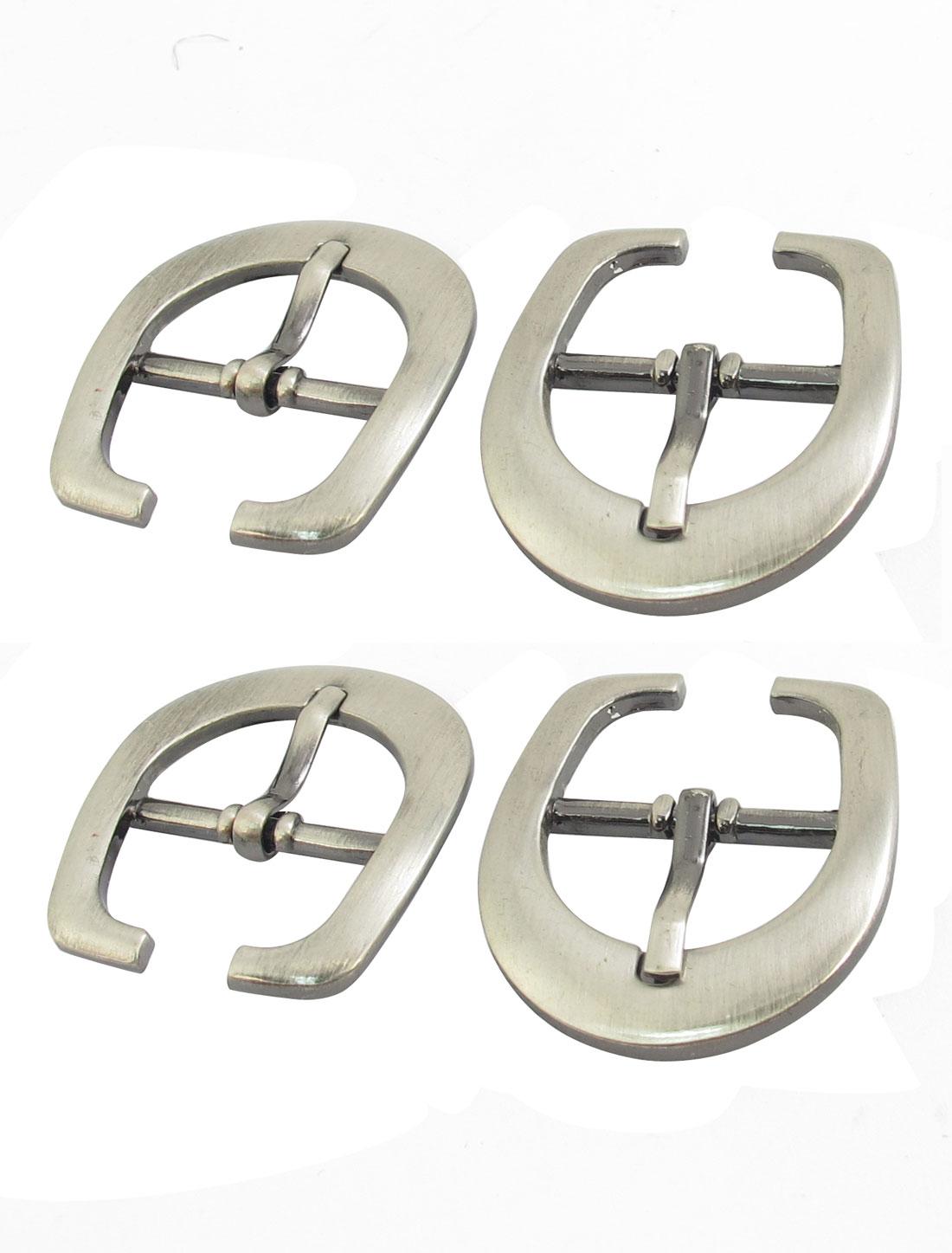 4 Pcs Silver Tone Metal Single Pin Stainless Steel Belt Buckle