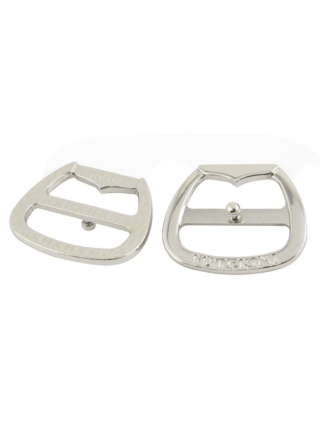 2 Pcs 3.5 x 3cm Silver Tone Metal Single Pin Buckle for Snap In Belt
