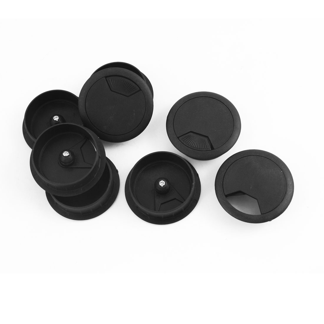 8 Pcs 60mm Mounting Hole Diameter Computer Desk Table Counter Top Cable Cord Plastic Grommets