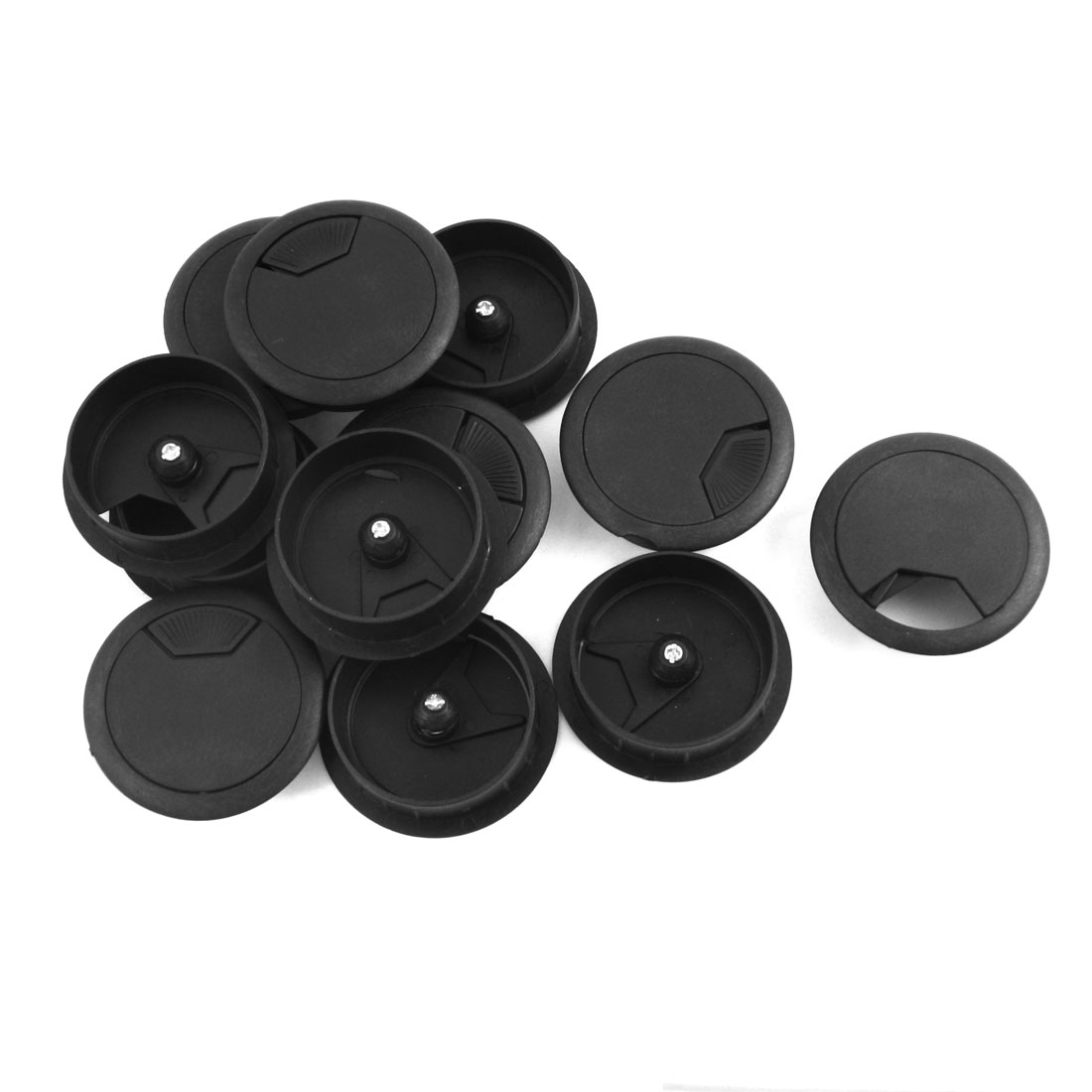 12 Pcs 50mm Mounting Hole Diameter Computer Desk Table Counter Top Cable Cord Plastic Grommets