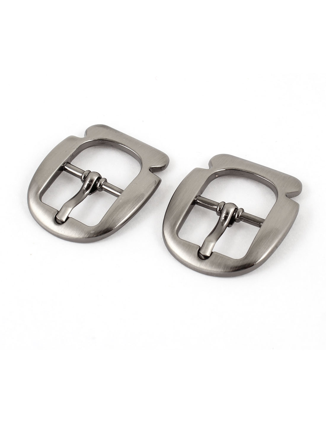 Waistband Silver Gray Metal Rectangle Single Pin Buckle 2 Pcs