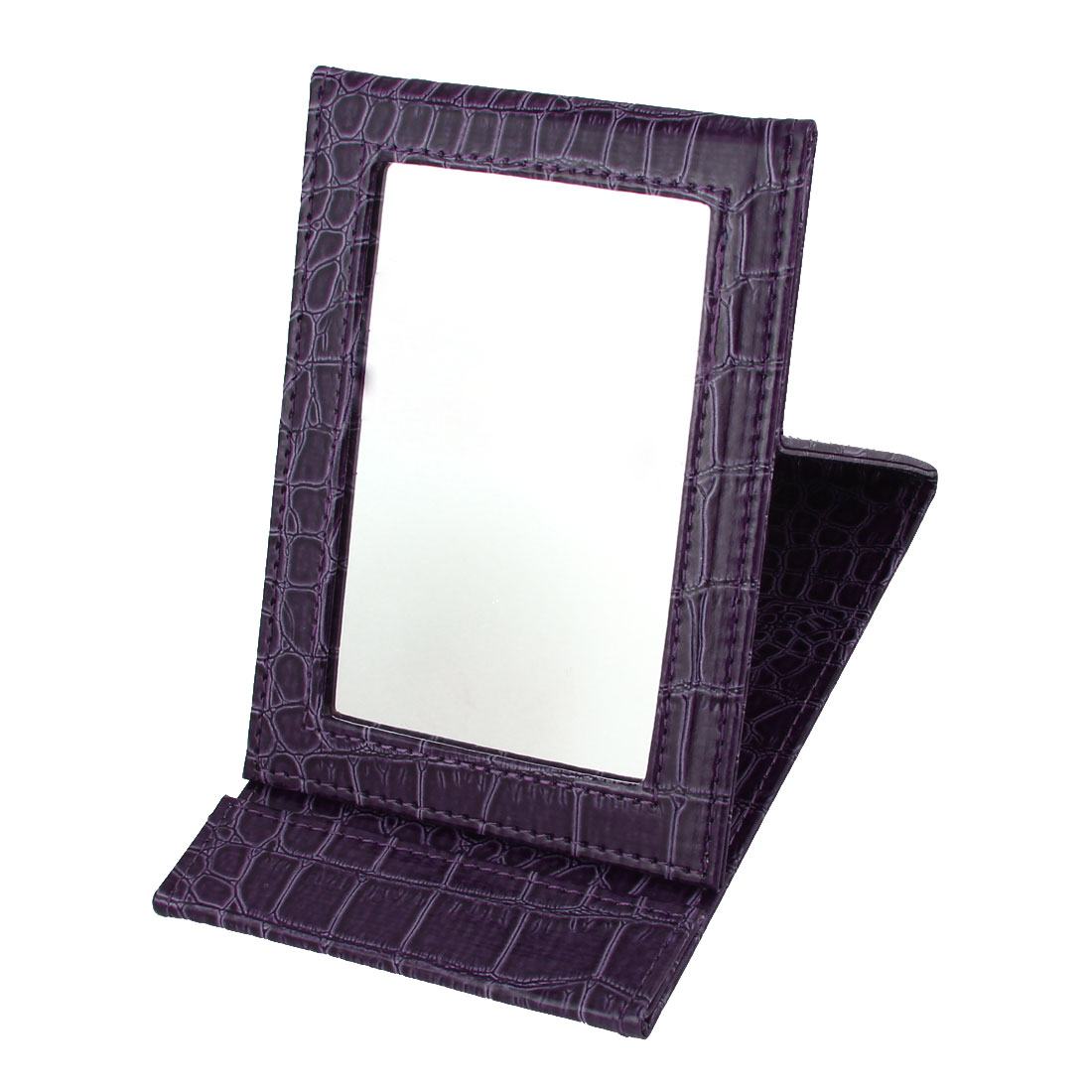 Dark Purple Alligator Pattern Faux Leather Coated Folding Stand Makeup Mirror