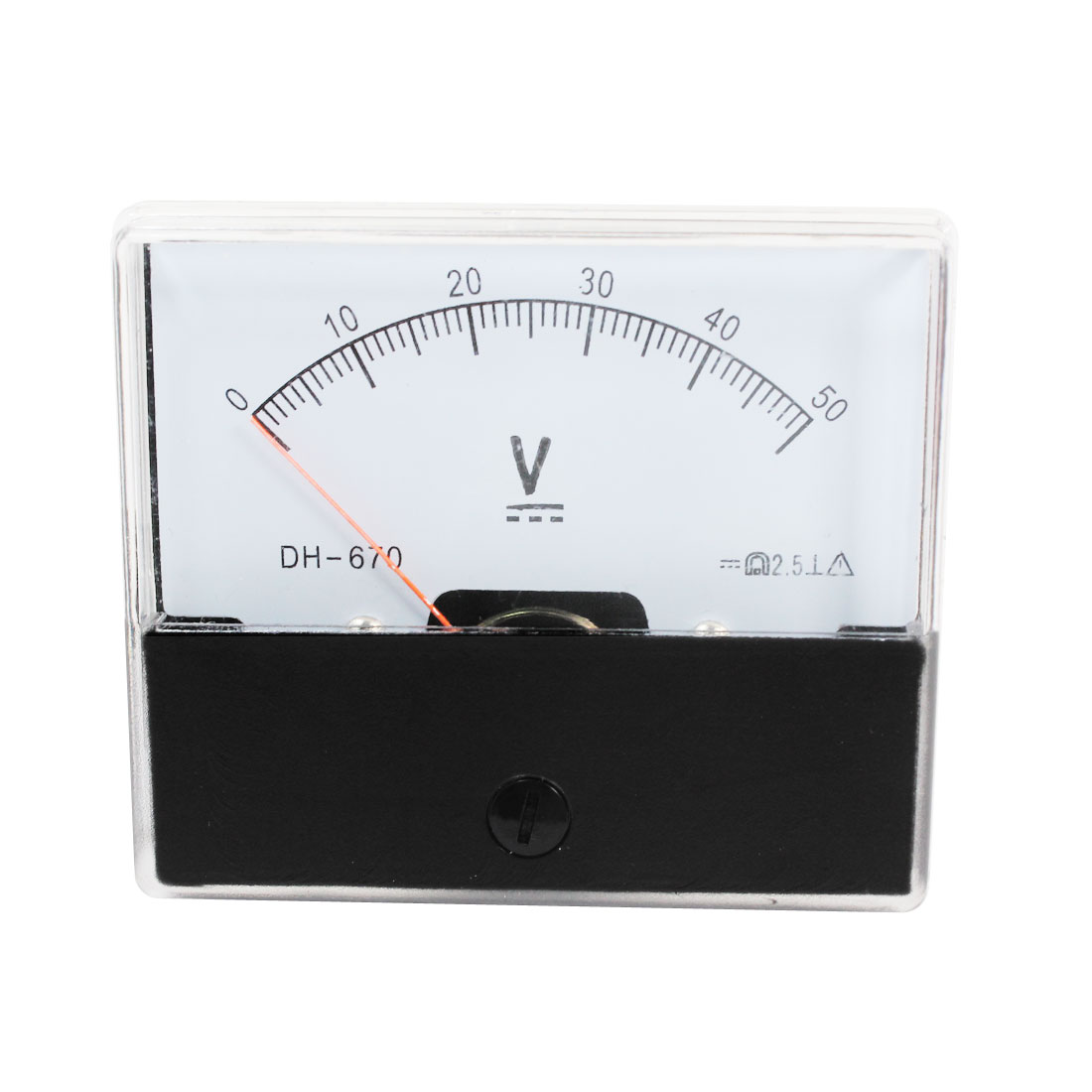 DC 0-50V Class 2.5 Rectangular Analog Volt Panel Mount Meter Gauge
