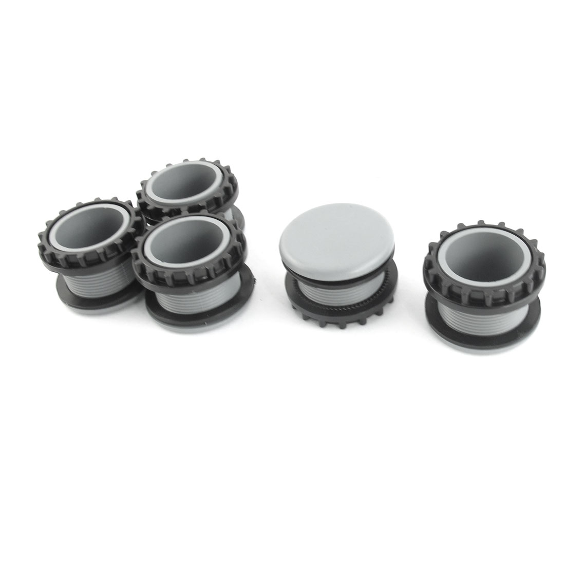 5Pcs 22mm Dia Thread Gray Plastic Mount Hole Panel Cap Cover