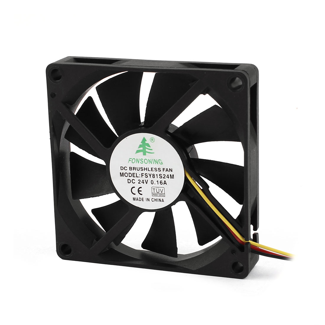 Computer Brushless DC Cooling Fan 80mm 3-terminal Connector 9 Flabellums DC 12V 0.16A