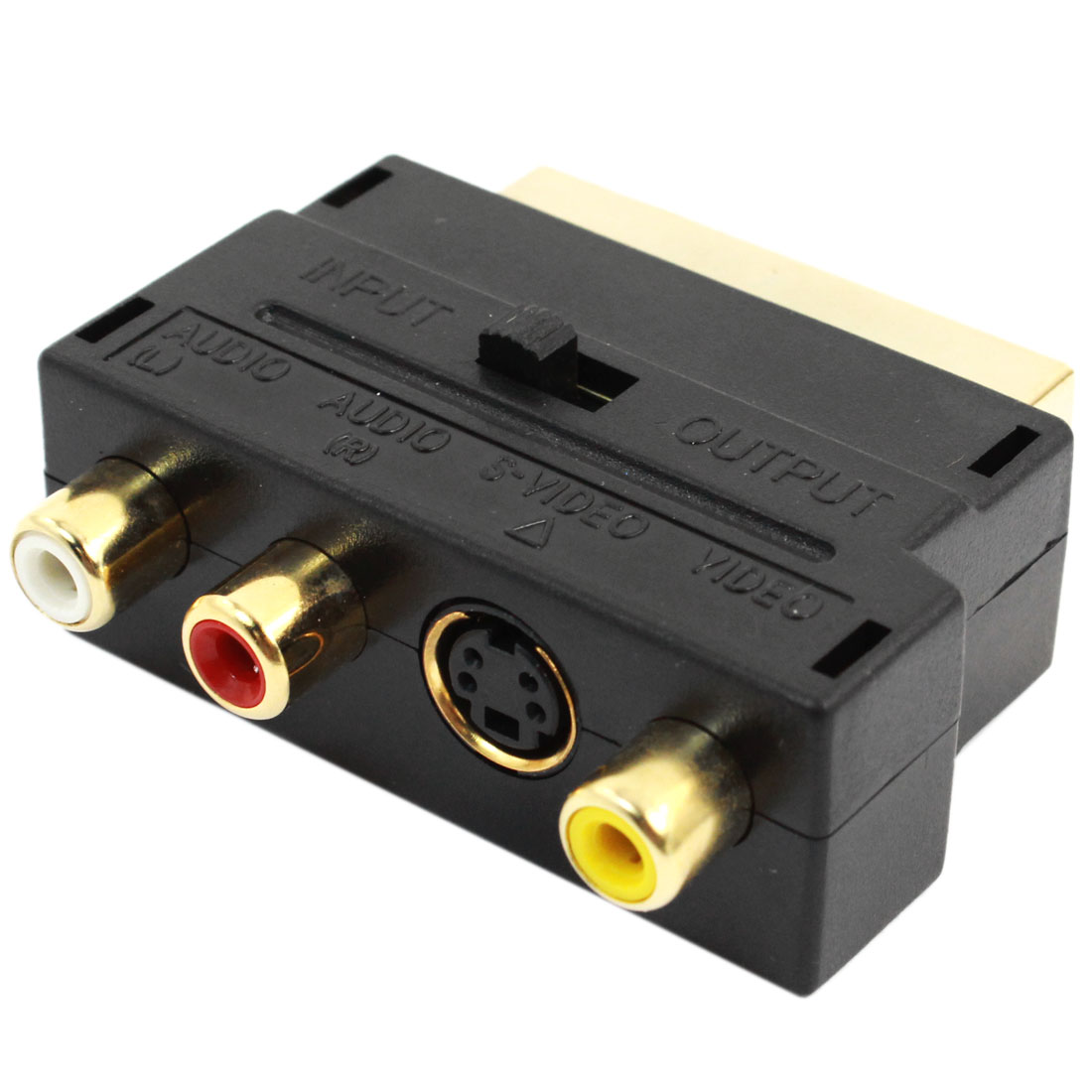 RGB Scart 20 Pin Male to 3 RCA AV Female + S Video Adapter Converter
