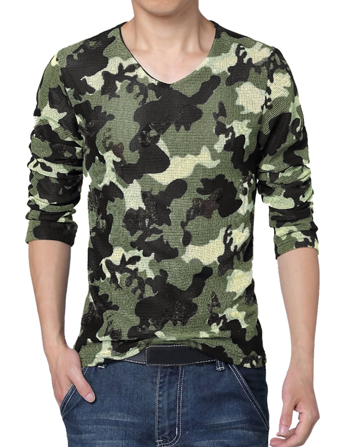 Men V Neck Camouflage Prints Mesh Patched T-Shirt Green M