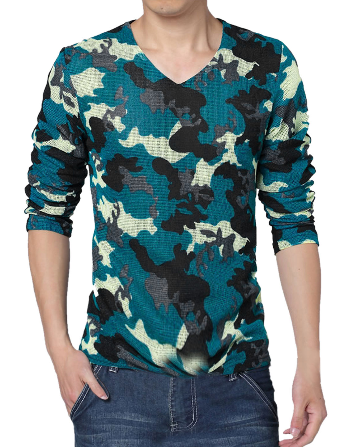 Men V Neck Camouflage Prints Mesh Patched Slim Fit T-Shirt Blue L