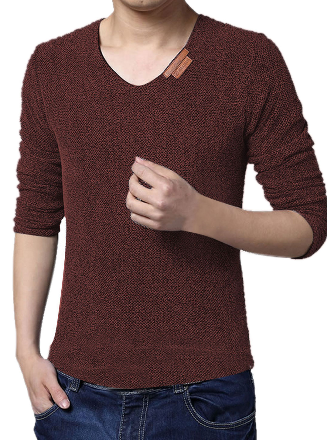 Men V Neck Long Sleeves Netted Mesh Tee Shirt Brown M